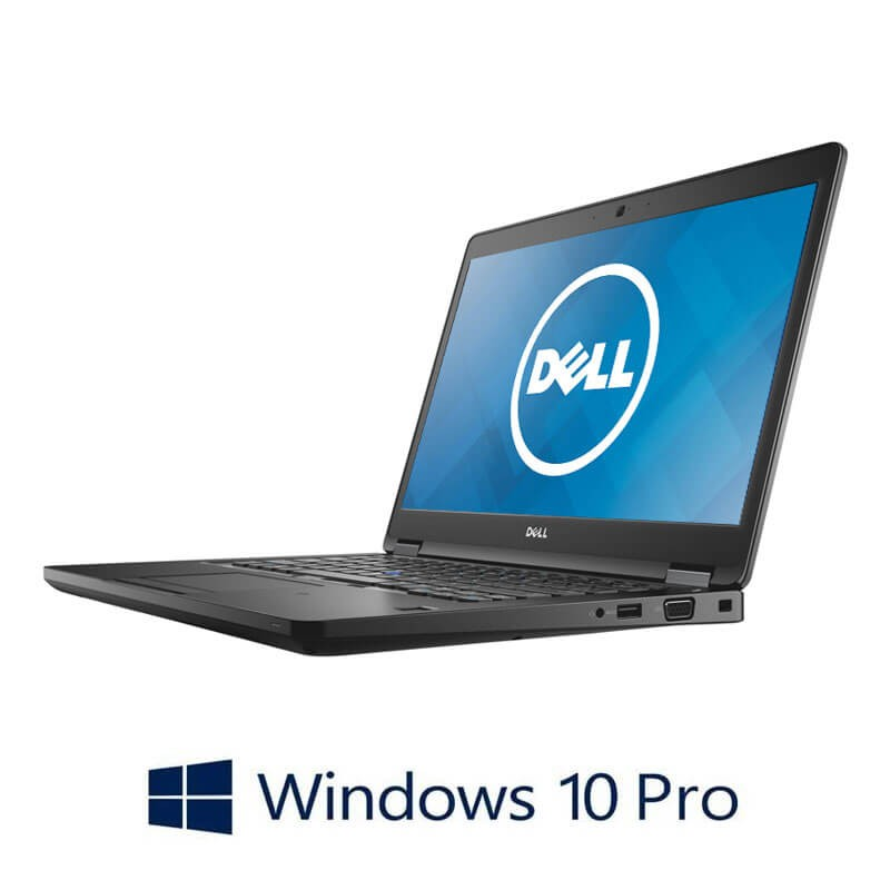Laptop Dell Latitude 5480, Intel i5-7200U, 256GB SSD, 14 inci, Webcam, Win 10 Pro
